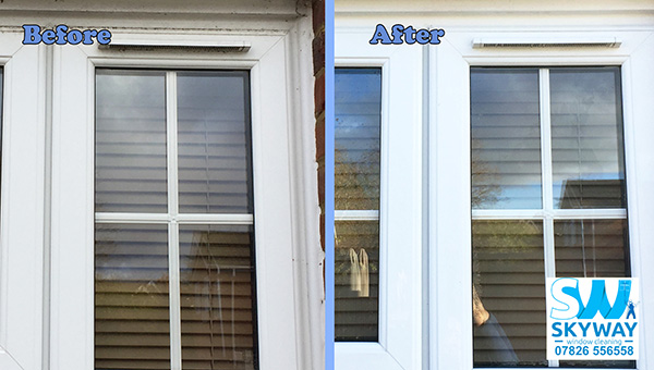 Dirty frame upvc before and after